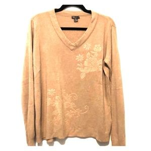 { Eddie Bauer}Tan V-neck Floral Embroidery Sweater
